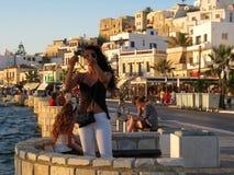Naxos på solnedgången royaltyfri bild