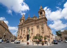 Naxxar, Malta - 2016, June 11th : The facade of the historic Our. Lady of Victories parish church of Naxxar, a town in the centre of Malta Stock Photo