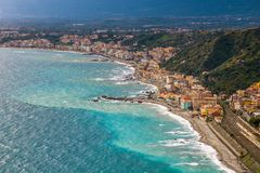 Naxxos, Sicily - Beautiful aerial view of Giardini Naxxos town with beach. And turquoise sea water stock photo