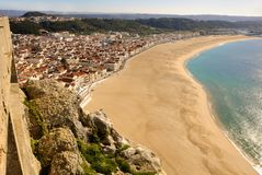 Nazaré, Praia, seen from Sítio Royalty Free Stock Images