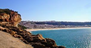 Nazare海滩,莱利亚,葡萄牙 免版税库存照片