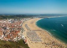Nazare海滩,葡萄牙,看法从上面 免版税库存图片