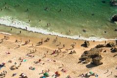 Nazare海滩,葡萄牙,看法从上面 库存图片
