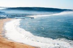 Nazare葡萄牙海滨村庄看法  免版税库存照片