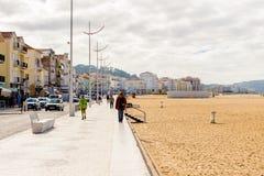 Nazare,葡萄牙海岸  免版税图库摄影