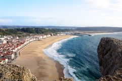 Nazare beach in Portugal Royalty Free Stock Photos