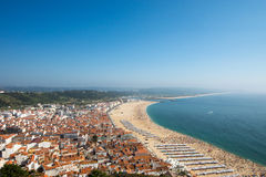 Nazare with the beach in Portugal Royalty Free Stock Images