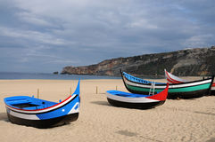 Nazare boats Stock Images