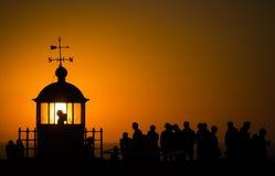 Nazare-Leuchtturmsonnenuntergang lizenzfreie stockfotografie