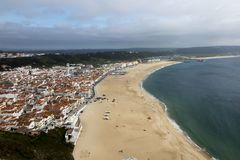 Nazare is one of the most popular seaside resorts in Portugal, c. Onsidered by some to be among the best beaches in Portugal royalty free stock photos