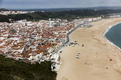 Nazare is one of the most popular seaside resorts in Portugal, c. Onsidered by some to be among the best beaches in Portugal stock photography