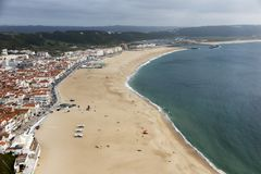 Nazare is one of the most popular seaside resorts in Portugal, c. Onsidered by some to be among the best beaches in Portugal royalty free stock photography