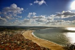 Nazare is a popular seaside resorts in Portugal. Nazare is one of the most popular seaside resorts in Portugal, considered by some to be among the best beaches Stock Photo