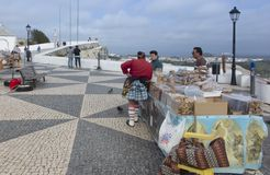 Nazare, Portugal, June 13, 2018: Sales of regional products on t stock photography