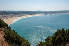 From the high point of Nazare stock image