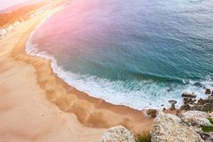 Sandy beach view, Portugal Royalty Free Stock Image