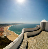 Nazare touristic beach Royalty Free Stock Images