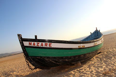 Nazare typical boat Royalty Free Stock Images