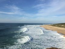 Nazare waves. Atlantic Ocean waves - view from Nazare, Portugal Stock Images