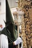 Nazarene σε Triana, αδελφοσύνη της ελπίδας, ιερή εβδομάδα στη Σεβίλη, Ανδαλουσία, Ισπανία στοκ εικόνα