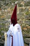 Nazarene, semana santa en Baeza, provincia de Jaén, Andalucía, España Imagenes de archivo