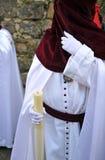 Nazarenes, Święty tydzień w Baeza, Jaen prowincja, Andalusia, Hiszpania Obrazy Stock