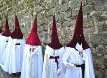 Nazarenes, святая неделя в Baeza, провинция Jaen, Андалусия, Испания Стоковые Фотографии RF