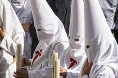 Nazarenessäsong av penitens av brödraskapet av Borriquita, helig vecka i Seville Arkivbilder