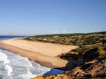 Nazarestrand, Leiria, Portugal stock foto's