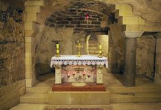 Nazareth. The altar in the cave inside the church of the Annunciation at the Nazareth town, Israel Stock Photography