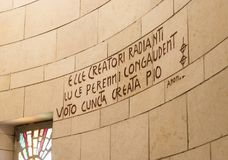 The inscription in Latin on the wall of the Basilica of the Annunciation in the old city of Nazareth in Israel. Nazareth, Israel, December 23, 2017 : The Royalty Free Stock Image