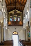 Interior of the St. Joseph`s Church in the old city of Nazareth in Israel. Nazareth, Israel, December 23, 2017 : Interior of the St. Joseph`s Church in the old stock image