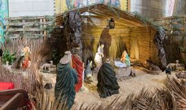 The scene of the birth of the Son of God in the Basilica of the Annunciation in the old city of Nazareth in Israel. Nazareth, Israel, December 23, 2017 : The Royalty Free Stock Photos