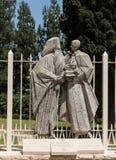 NAZARETH Israel-Juli 08, 2015: staty av påven Paul VI och Patri Royaltyfri Bild