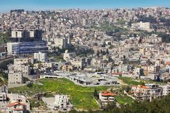 Panoramic view of Nazareth, Galilee, Israel. NAZARETH, ISRAEL - March 09, 2019: panoramic view of modern Nazareth, a city in the Galilee, north of Israel, here royalty free stock photos