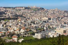 Panoramic view of Nazareth, Galilee, Israel. NAZARETH, ISRAEL - March 09, 2019: panoramic view of modern Nazareth, a city in the Galilee, north of Israel, here stock photography