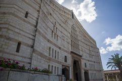 Basilica of the Annunciation, Church of the Annunciation in Nazareth, Israel. Nazareth, Israel - May 6, 2018 : Basilica of the Annunciation, Church of the royalty free stock photo