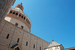 Nazareth, Israel, Middle East, the Church of the Annunciation, Holy Land, pilgrimage, religion, catholicism, biblical place. The Church of the Annunciation on Royalty Free Stock Photos