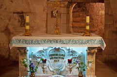 Nazareth, Israel, Middle East, Church of the Annunciation, Holy Land, pilgrimage, religion, catholicism, biblical place, altar. Inscription on the altar in the Royalty Free Stock Image