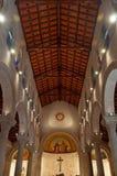 Nazareth, Israel, Middle East, St. Joseph`s Church, altar, religion, pilgrimage, Holy Land. The interior of St. Joseph`s Church on September 2, 2015.  St. Joseph Royalty Free Stock Image