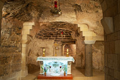 Nazareth, Israel, Middle East, Church of the Annunciation, Holy Land, pilgrimage, religion, catholicism, biblical place, grotto. The lower level of the Church of Royalty Free Stock Photo