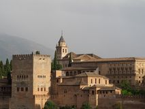 Nazaries Palace of Alhamabra in Granada, Spain. View of Nazaries Palace from Mirador San Nicolas in Granada Royalty Free Stock Photography