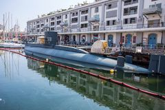 Nazario Sauro 518 submarine is a diesel-powered submarine of the Italian Navy. It is currently a museum ship moored in the ancient royalty free stock photography