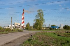 The road leads to Nazarovskaya thermal power station GRES is located in the city Nazarovo, Krasnoyarsk Territory of Russia. Nazarovo, Krasnoyarsk Region / RF stock images
