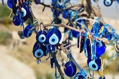 Nazars turkiska berlock för ont öga på trädet cappadocia kalkon royaltyfri foto