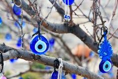 Nazars turkiska berlock för ont öga på trädet Goreme cappadocia kalkon royaltyfri foto