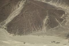 Nazca desert, Peru, hieroglyph astronaut. Top view Stock Photography