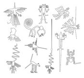 Nazca lines creatures from Nazca desert in Peru.  stock illustration