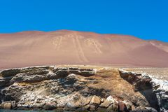 The Nazca Lines. Shot  of a replication of the famous Nazca Lines in Peru, seen from the Pacific Ocean Stock Image