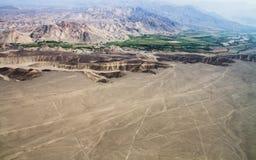 Nazca linjer, flyg- sikt, Peru royaltyfria foton